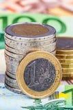 Банкноты и монетки евро Стоковые Изображения RF