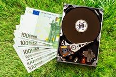 100 банкноты и hardisk евро Стоковая Фотография
