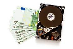 100 банкноты и hardisk евро Стоковые Фото