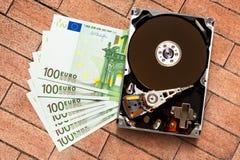 100 банкноты и hardisk евро Стоковые Изображения RF