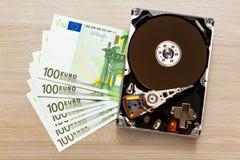 100 банкноты и hardisk евро Стоковая Фотография RF