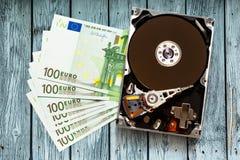100 банкноты и hardisk евро Стоковое Изображение