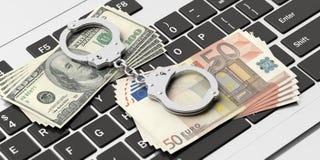 Банкноты наручников, евро и доллара на клавиатуре компьютера, иллюстрации 3d иллюстрация вектора
