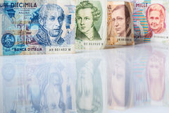 Банкноты от Италии Итальянская лира 10000, 5000, 2000, 1000 Стоковые Фотографии RF