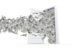 Банкноты доллара в белой двери Стоковое Изображение