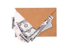 Банкноты доллара и евро внутри конверта Стоковая Фотография