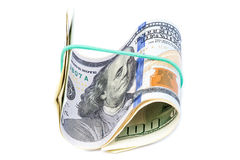 Банкноты доллара на белой предпосылке Стоковое фото RF