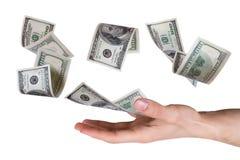 Банкноты доллара на молодой мужской руке Стоковая Фотография RF