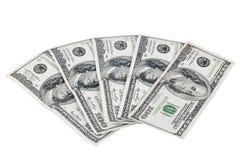 Банкноты 100 долларов на белой предпосылке Стоковое фото RF