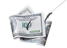 Банкноты долларов на крюке Стоковое Изображение RF