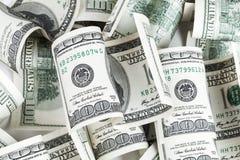 Банкноты долларов Соединенных Штатов Куча 100 USD Стоковые Изображения