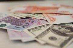 Банкноты доллар банка, евро, рубль Стоковое Изображение RF