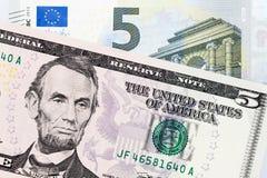 2 банкноты различных стран Стоковое Изображение RF