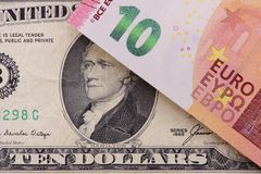Банкноты США и Европы Стоковые Изображения RF