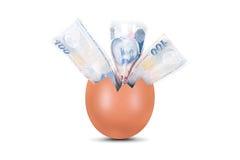 Банкноты турецкой лиры в сломленном яичке Стоковое фото RF