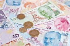 Банкноты турецкой лиры 5000 рублевок картины дег счетов предпосылки Стоковое фото RF