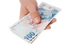Банкноты турецкой лиры 5000 рублевок картины дег счетов предпосылки Стоковое Фото