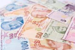 Банкноты турецкой лиры 5000 рублевок картины дег счетов предпосылки Стоковое Изображение