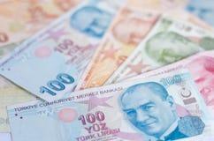 Банкноты турецкой лиры 5000 рублевок картины дег счетов предпосылки Стоковые Изображения RF