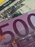 Банкноты EUR/USD Стоковое Изображение
