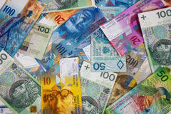 Банкноты PLN и CHF как предпосылка Стоковая Фотография RF