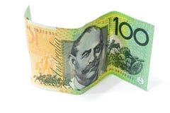 100 банкнот австралийского доллара на белизне Стоковые Фотографии RF