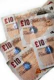 10 банкнот британцев фунта Стоковые Фото