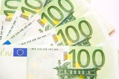 100 банкнот валюты евро Стоковое фото RF