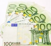 100 банкнот валюты евро Стоковые Изображения RF