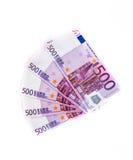 500 банкнот евро изолированных на белой предпосылке наличные деньги m Стоковое Изображение RF