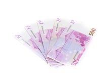 500 банкнот евро изолированных на белой предпосылке наличные деньги m Стоковые Фотографии RF