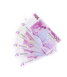 500 банкнот евро изолированных на белой предпосылке Стоковое Изображение RF