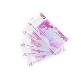 500 банкнот евро изолированных на белой предпосылке Стоковая Фотография