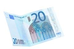 20 банкнот евро изолированных на белой предпосылке Стоковое Фото