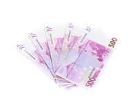 500 банкнот евро изолированных на белой предпосылке cash Стоковые Фотографии RF