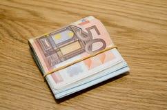 50 банкнот денег евро Стоковое Изображение