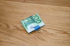 100 банкнот денег евро Стоковое фото RF