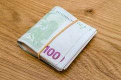 100 банкнот денег евро Стоковое Изображение