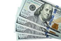 100 банкнот доллара изолированных на белой предпосылке Стоковая Фотография