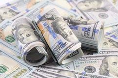 100 банкнот доллара как предпосылка Стоковые Фотографии RF