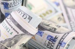 100 банкнот доллара как предпосылка Стоковое Изображение RF