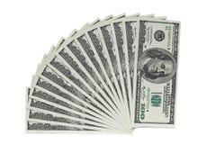 100 банкнот доллара на белой предпосылке Стоковое Изображение