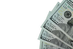 100 банкнот доллара установили правильную позицию Стоковые Фотографии RF