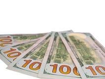 100 банкнот долларов США изолированных на белизне Стоковые Фотографии RF