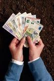 Банковская ссуда для аграрной деятельности в банкнотах евро Стоковое фото RF