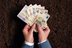 Банковская ссуда для аграрной деятельности в банкнотах евро Стоковое Изображение