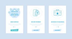 Банковские услуги, безопасная оплата, дел-к-дело Пользовательские интерфейсы, телефоны экранов иллюстрация штока