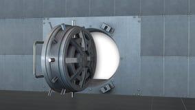 Банковское хранилище, безопасная дверь открытая Стоковая Фотография