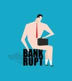 Банкрот бизнесмена, дебитор Унылый бизнесмен сидя на налоге Na Стоковая Фотография RF