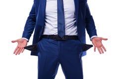Банкрот сломал бизнесмена изолированного на белизне Стоковые Фотографии RF